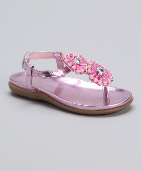 Pink Metallic Double Flower Sandal