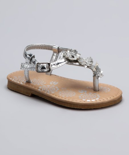 Silver Metallic Triple Flower Sandal
