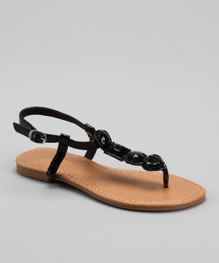 Black Jewel T-Strap Sandal