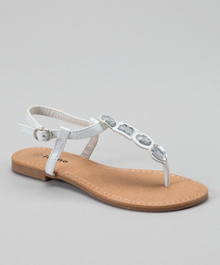 White Jewel T-Strap Sandal
