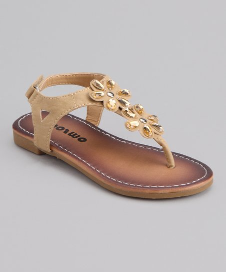 Tan Double Flower Sandal