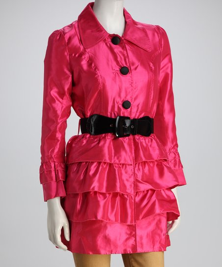 Cherry Blossom Ruffle Belted Jacket