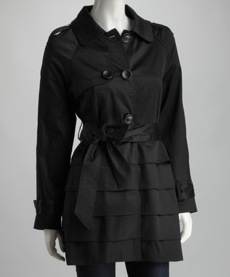 Joy Mark Black Ruffle Trench Coat
