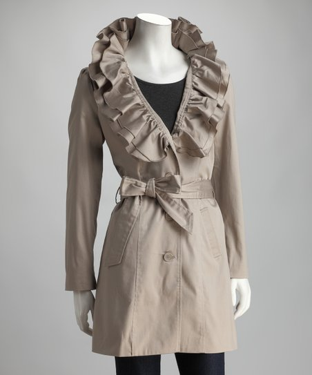 Joy Mark Cement Ruffle Collar Trench Coat