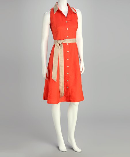 Guava Orange Shirt Dress - Women