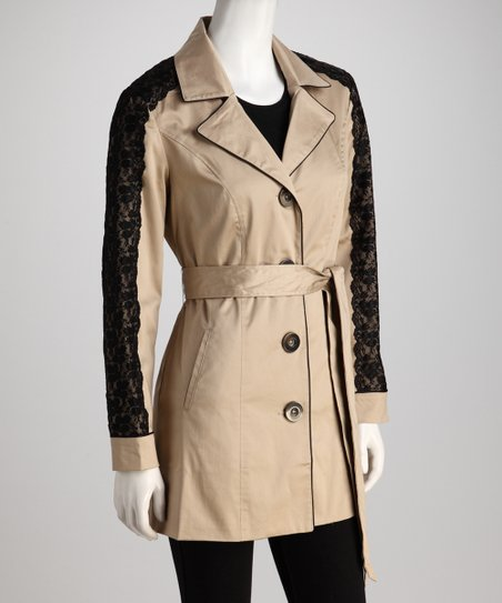 Khaki & Black Lace Jacket - Women
