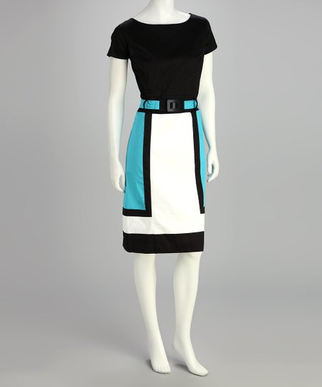 Blue Color Block Belted Dress