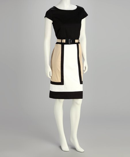 Khaki Color Block Belted Dress