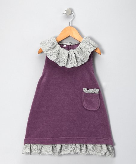 Purple Fleece Jumper &amp; Lady Bruges Trim Set - Girls