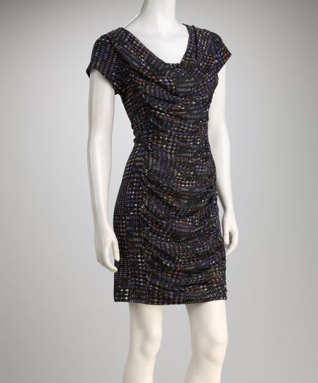 Royal Geometric Ruched Dress