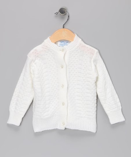 Julius Berger White Scallop-Neck Cardigan - Infant