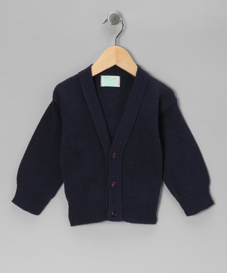 Julius Berger Navy Classic Cotton Shetland Cardigan - Boys
