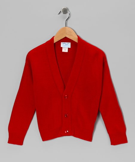 Red Classic Shetland Cardigan - Boys