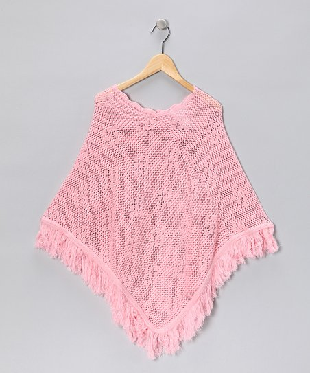 Pink Diamond Knit Poncho - Girls