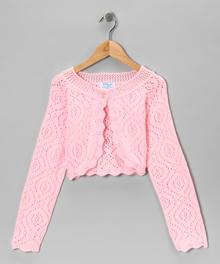 Julius Berger Pink Crocheted Bolero - Girls