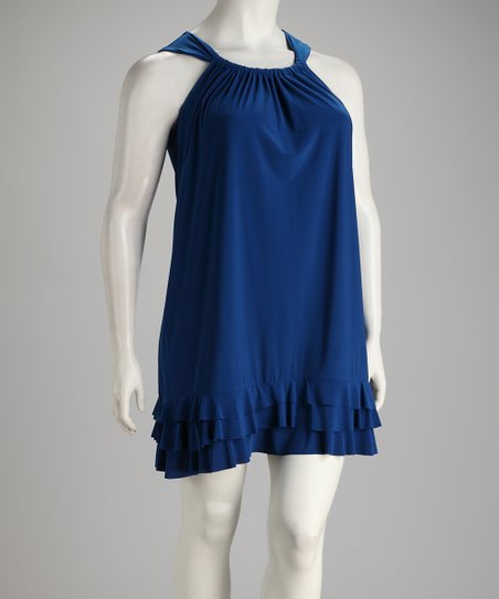Cobalt Triple Ruffle Plus-Size Dress