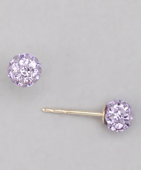 Violet Crystal & Gold Earrings