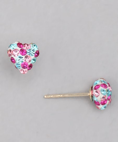Pink Crystal &amp; Gold Heart Stud Earrings