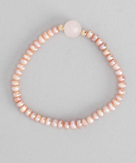 Coral Pearl &amp; Gold Bead Bracelet