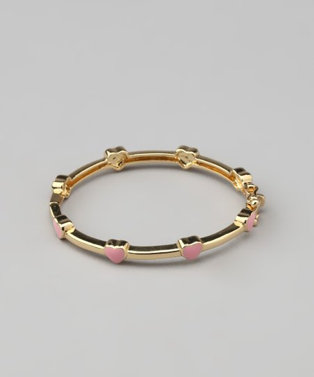 Pink &amp; Gold Heart Bangle