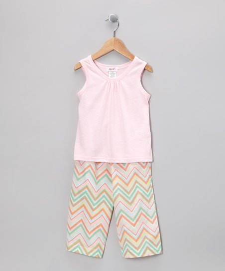 Light Pink Tank & Aqua Chevron Pants - Infant, Toddler & Girls