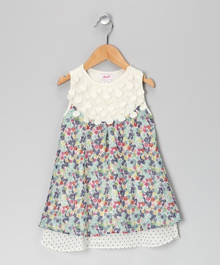 Blue Pansy Double-Layer Dress - Toddler & Girls