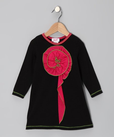 Black Ruffle Flower Dress - Toddler &amp; Girls