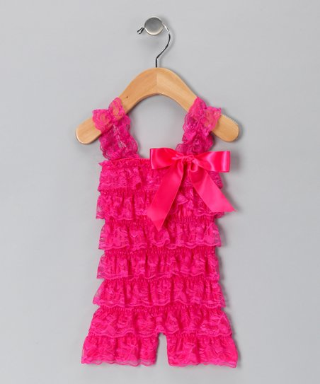 Watermelon Lace Ruffle Romper - Infant & Toddler