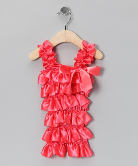 Strawberry Satin Ruffle Romper - Infant & Toddler