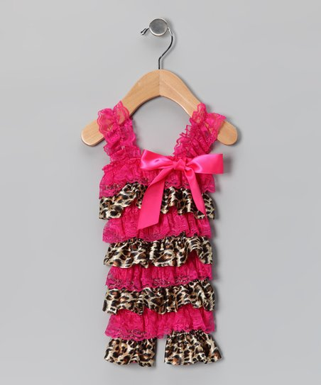 Hot Pink Leopard Satin Lace Ruffle Romper - Infant & Toddler