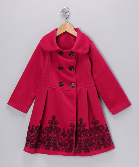 Just Kids Pink Double-Breasted Pleated Peacoat - Girls
