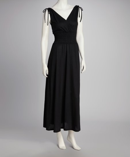 Black Smocked Maxi Dress