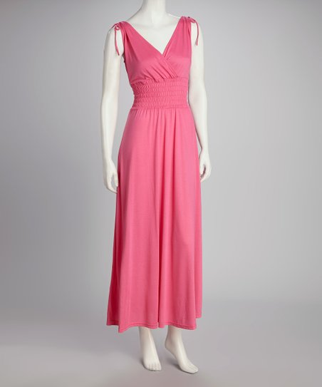 Bright Pink Smocked Maxi Dress