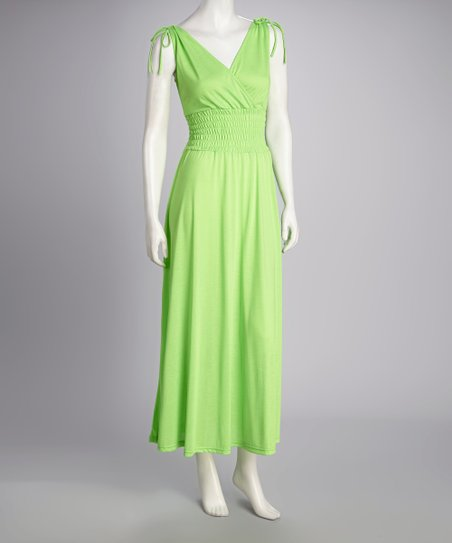 Lime Smocked Maxi Dress