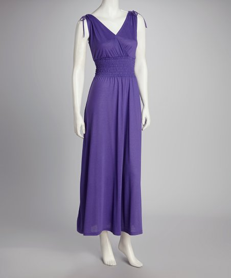 Purple Smocked Maxi Dress
