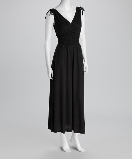 Black Shirred Surplice Maxi Dress