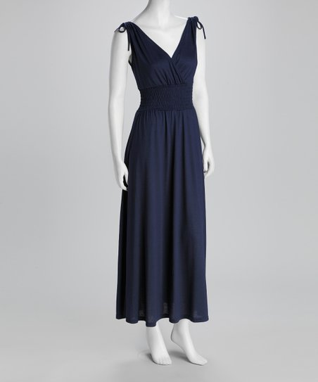 Navy Shirred Surplice Maxi Dress