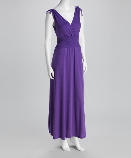 Purple Shirred Surplice Maxi Dress