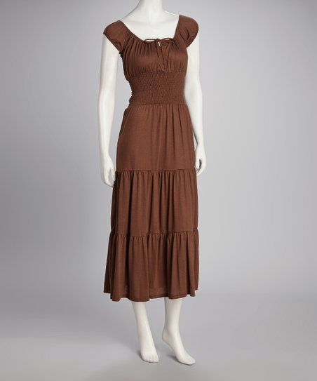 Brown Cap-Sleeve Dress