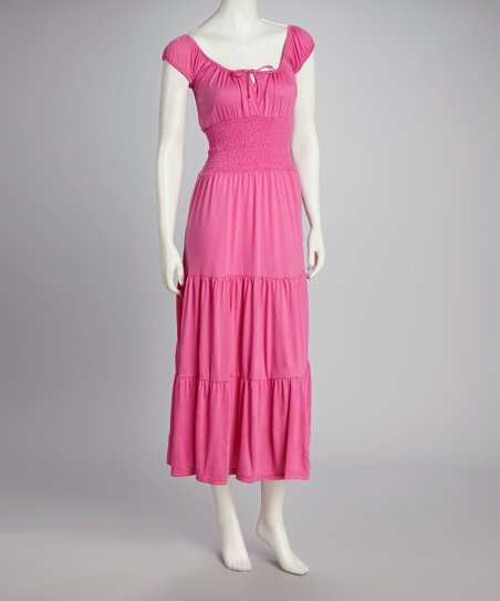 Pink Cap-Sleeve Dress