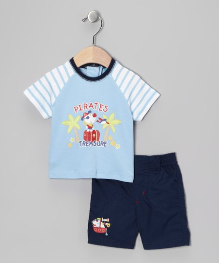 Blue &#039;Pirates Treasure&#039; Tee &amp; Shorts