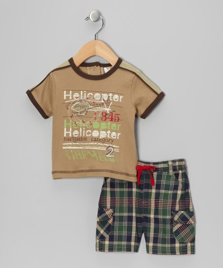 Khaki Plaid 'Helicopter' Tee & Shorts