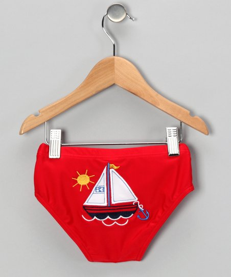 Red Sailboat Swim Diaper Cover - Infant & Toddler