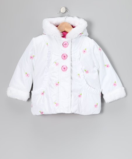 White Floral Ruffle Coat - Toddler