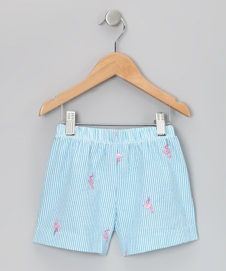 Turquoise & Pink Flamingo Shorts - Girls