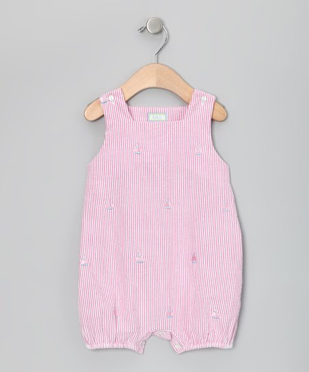 Raspberry & Pink Sailboat Bubble Romper - Infant