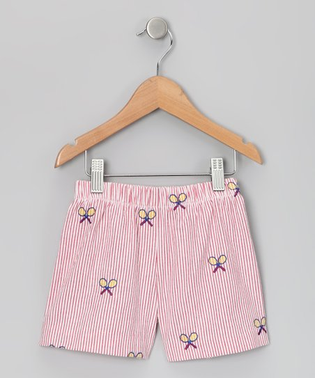 Red & White Racquet Shorts - Infant