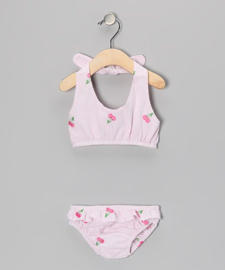 Pink Cherry Seersucker Bikini - Infant
