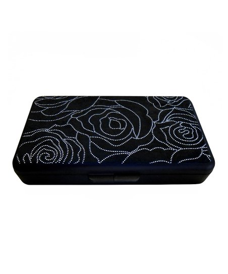 Black & Silver Metallic Rose Wipes Clutch
