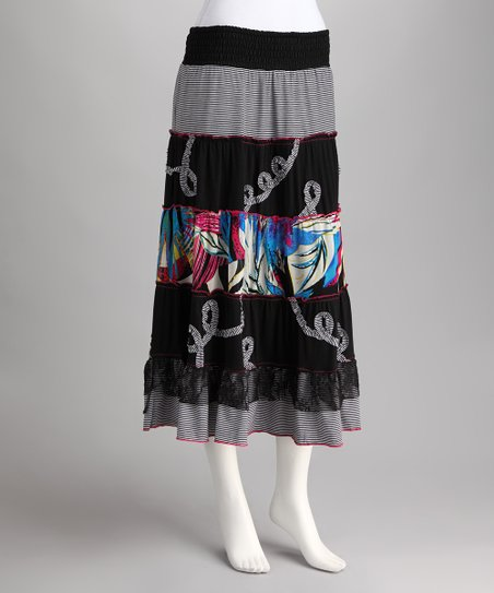 Black & Blue Peasant Skirt